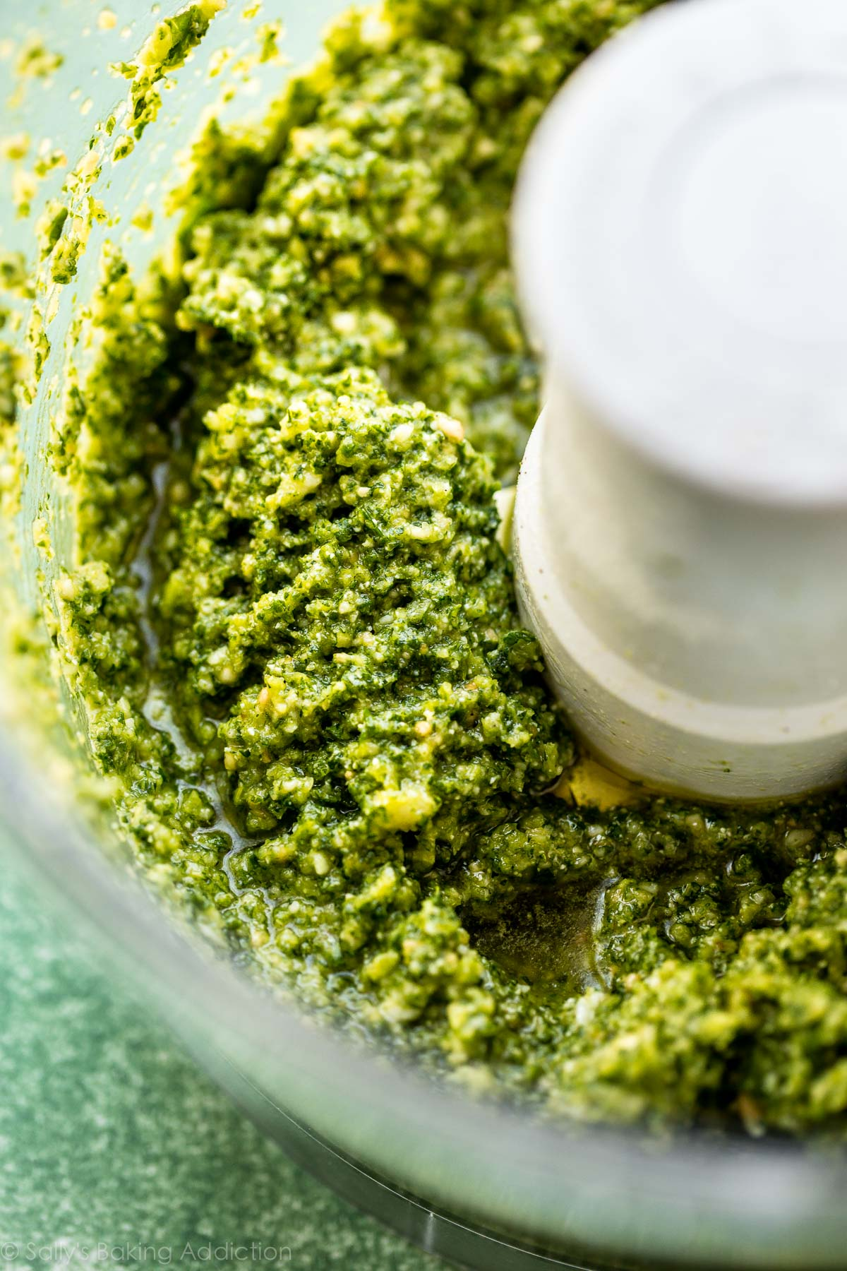 Homemade kale basil pesto on sallysbakingaddiction.com