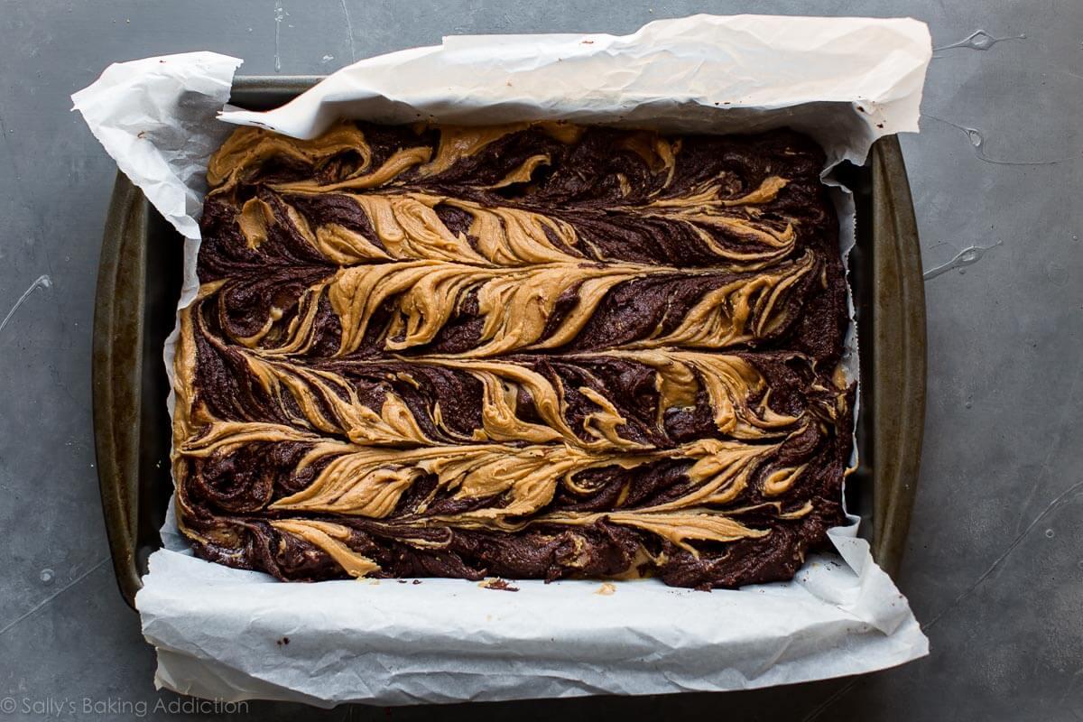 Peanut butter swirl brownies on sallysbakingaddiction.com