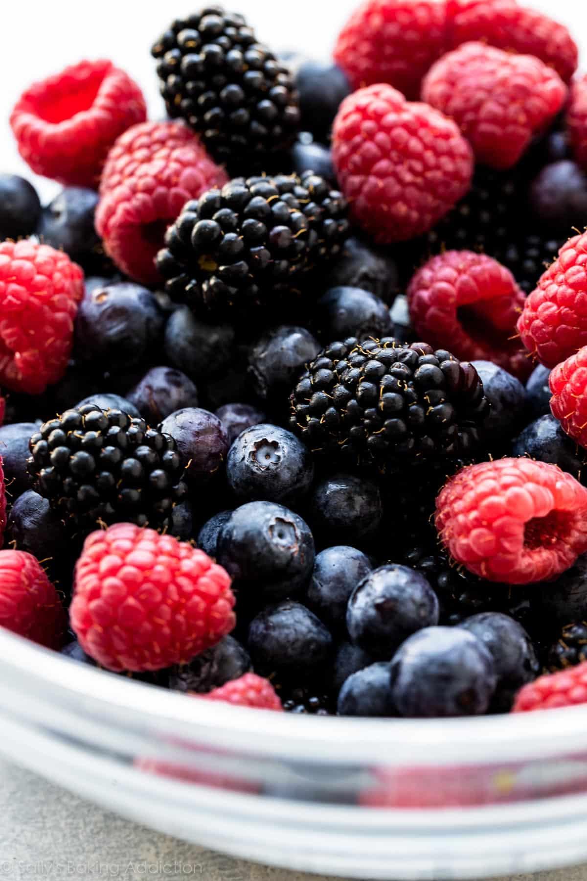 Fresh berries for berry quinoa salad on sallysbakingaddiction.com