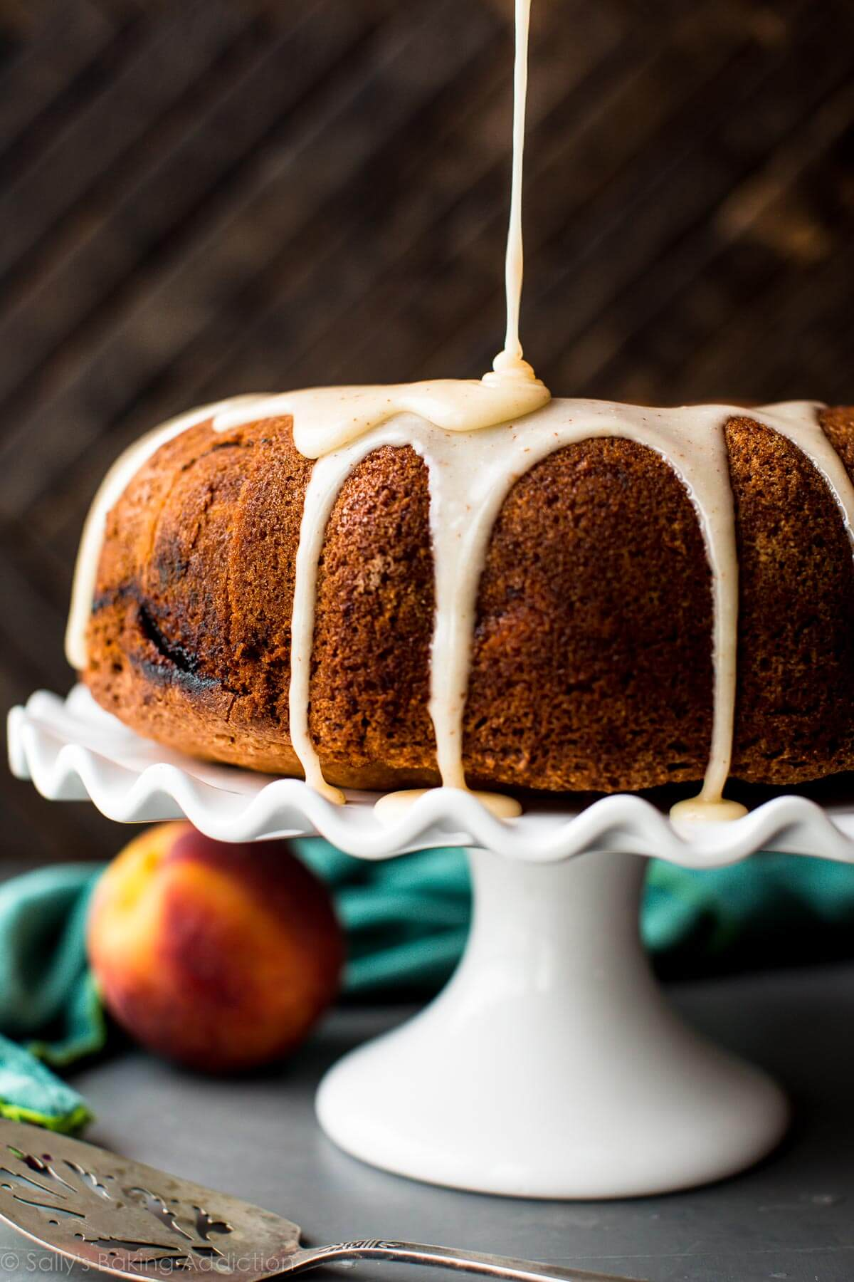 Peach Bundt Cake With Brown Butter Icing Sallys Baking
