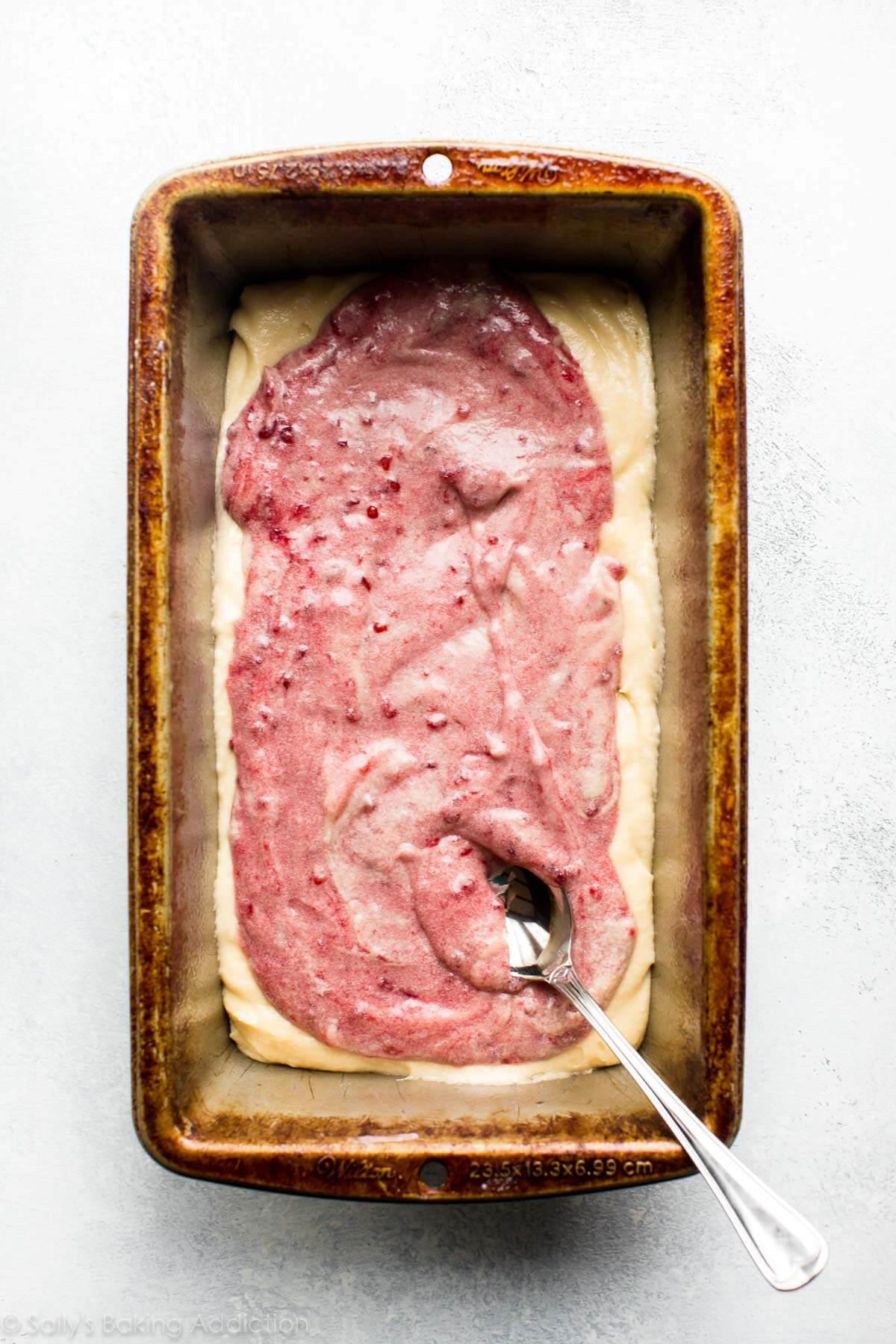 How to make raspberry swirl pound cake on sallysbakingaddiction.com