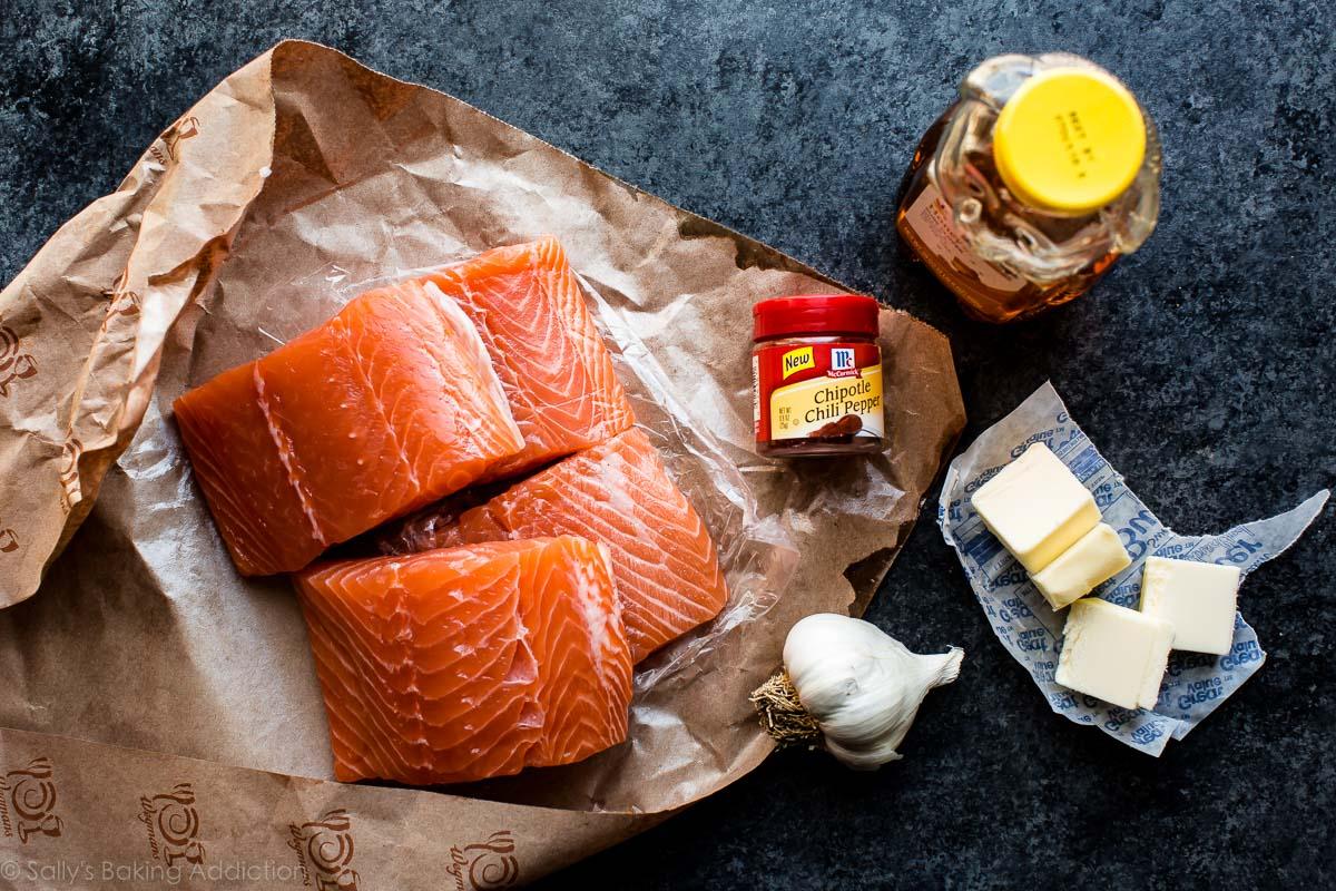 How to make easy honey chipotle salmon on sallysbakingaddiction.com