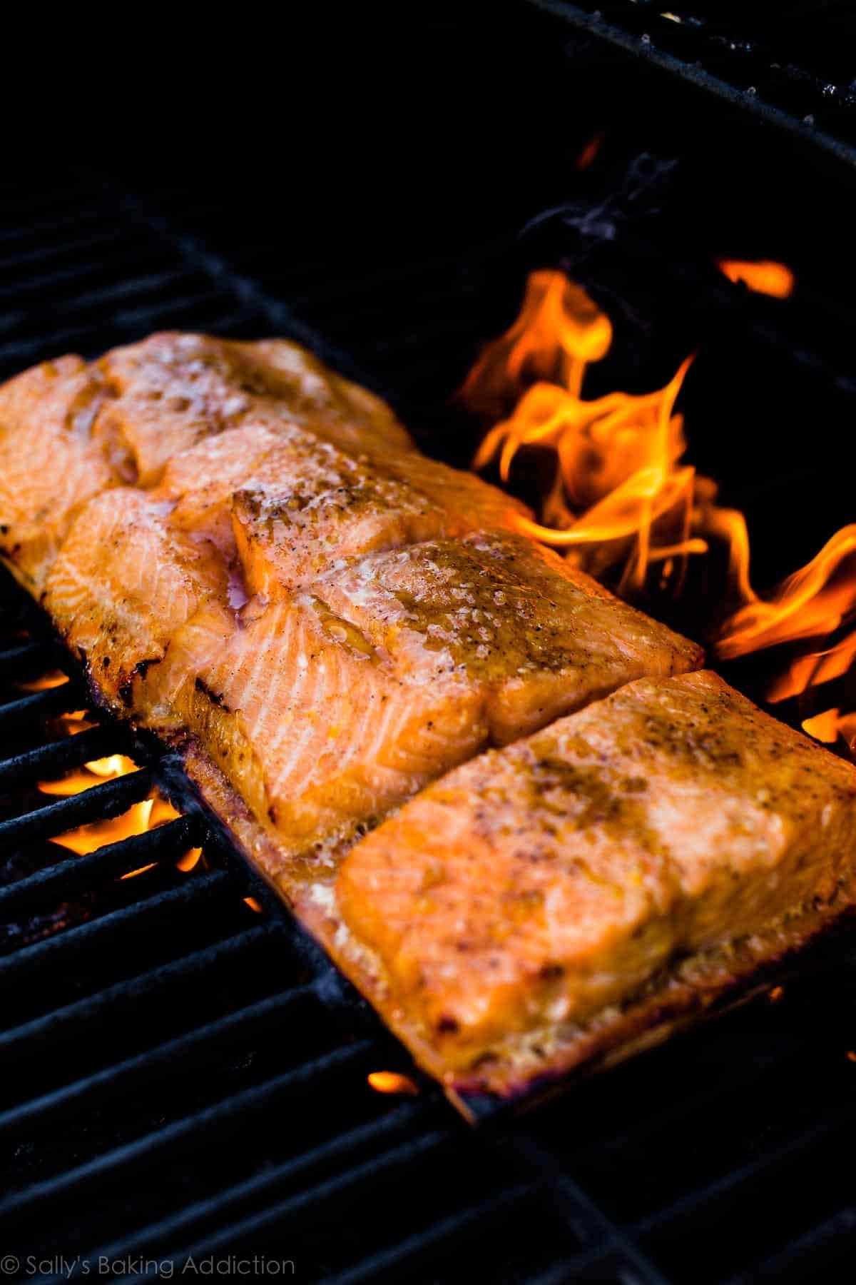 Salmon on the grill on sallysbakingaddiction.com