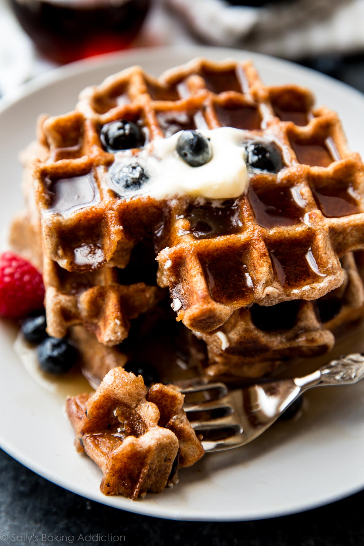 How to make FLUFFY whole wheat waffles! You can't even tell they are made with whole wheat flour. Great flavor, easy healthy waffles! Recipe on sallysbakingaddiction.com