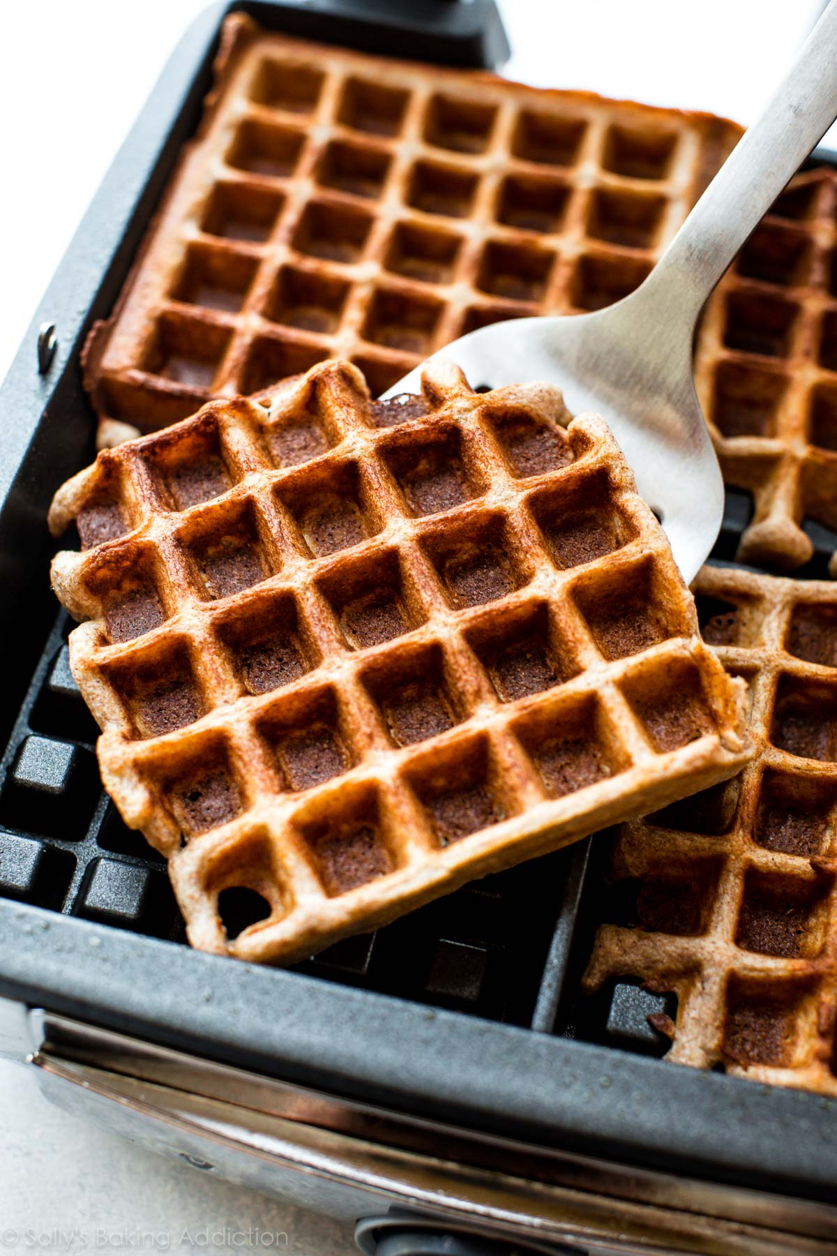 How to make fluffy whole wheat waffles on sallysbakingaddiction.com