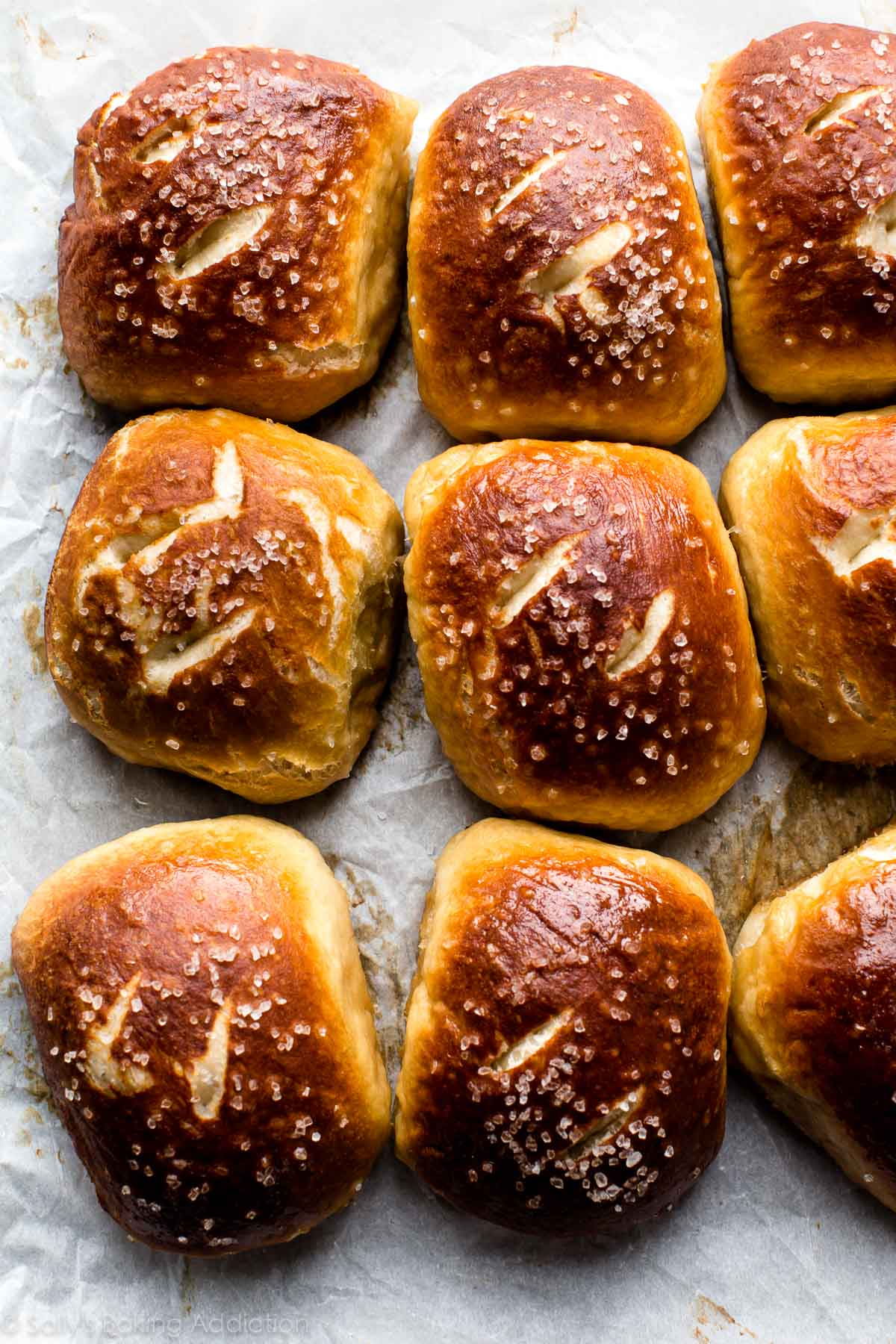 How to make EASY soft pretzel rolls! Recipe on sallysbakingaddiction.com