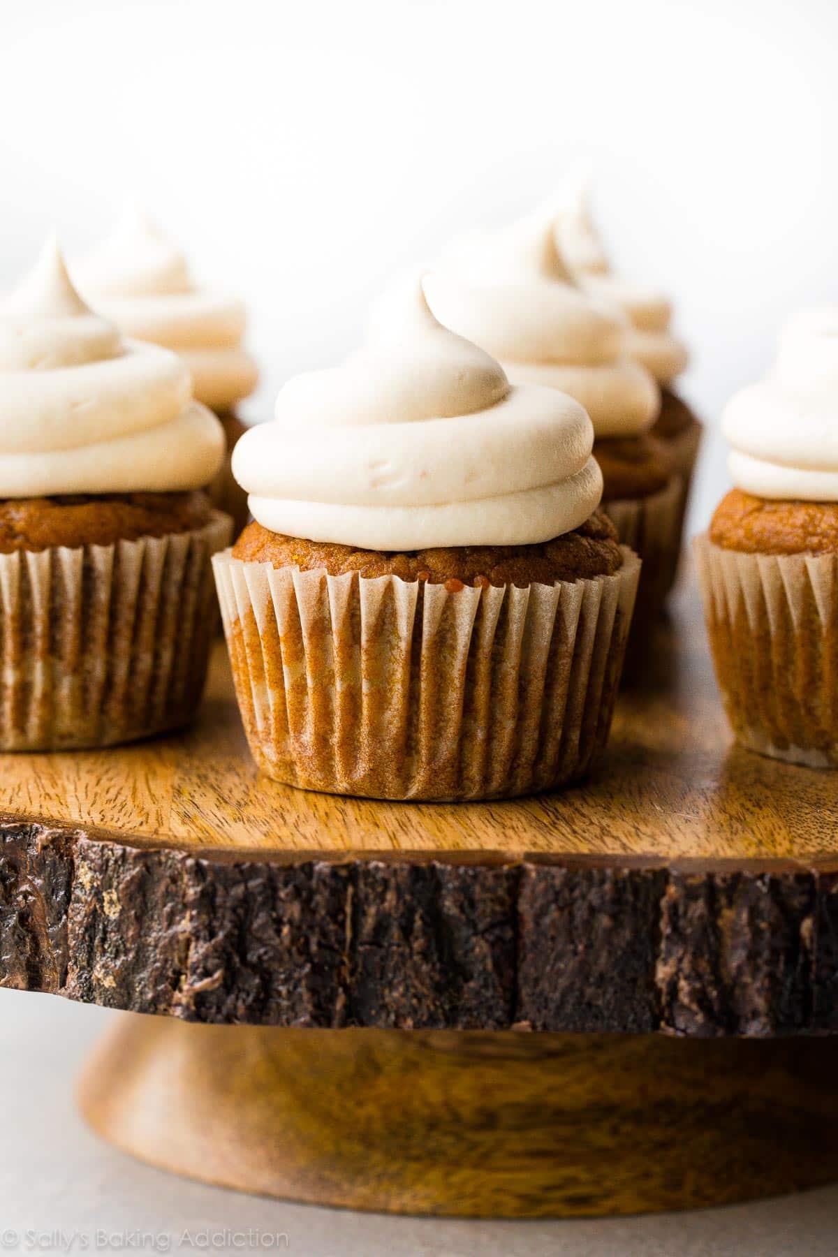 Pumpkin Cupcakes Pumpkin Cupcakes With Cream Cheese Frosting  Sallys Baking Addiction