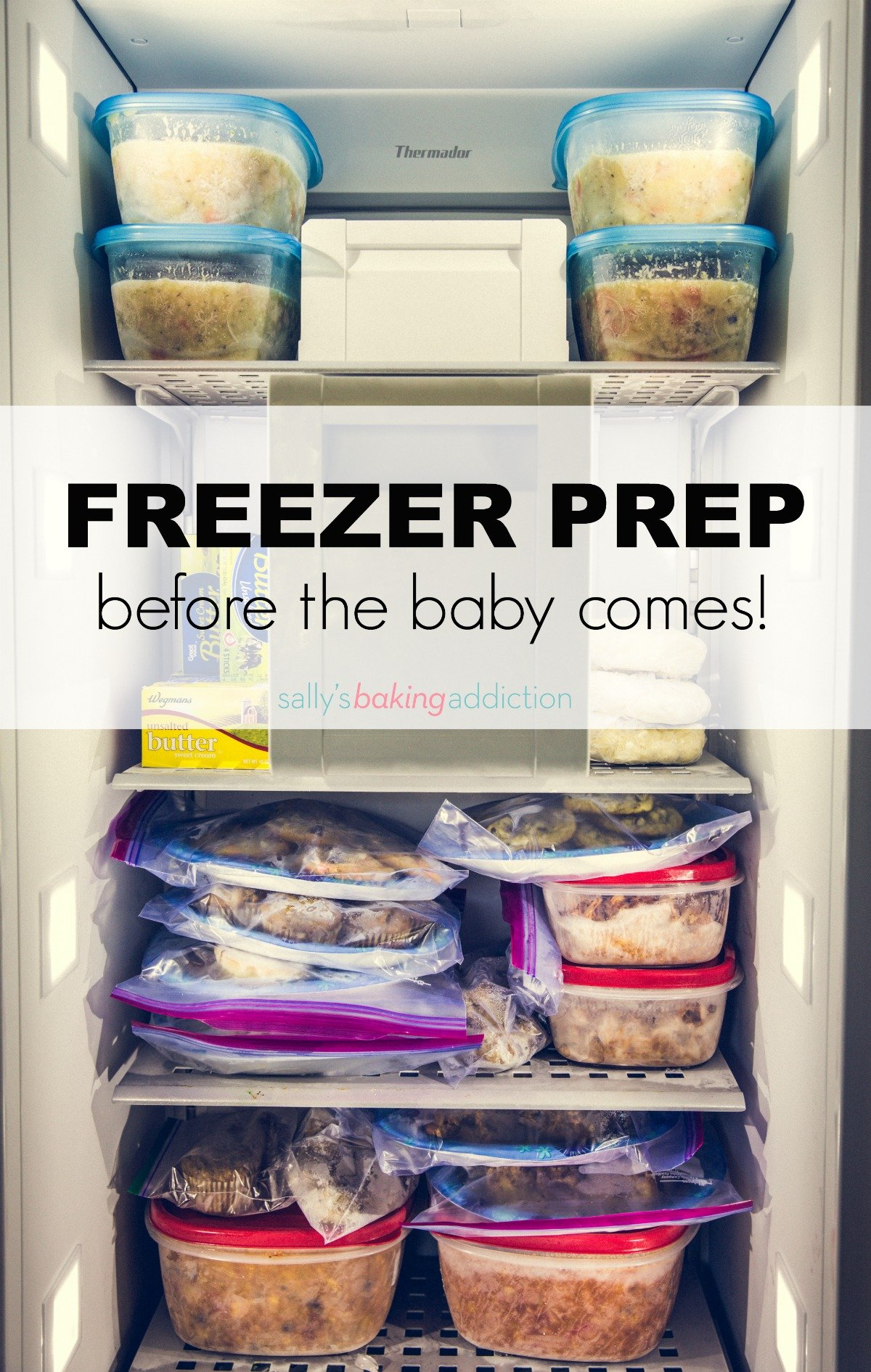 Freezer meals and snacks to prepare before the baby comes! Recipes on sallysbakingaddiction.com