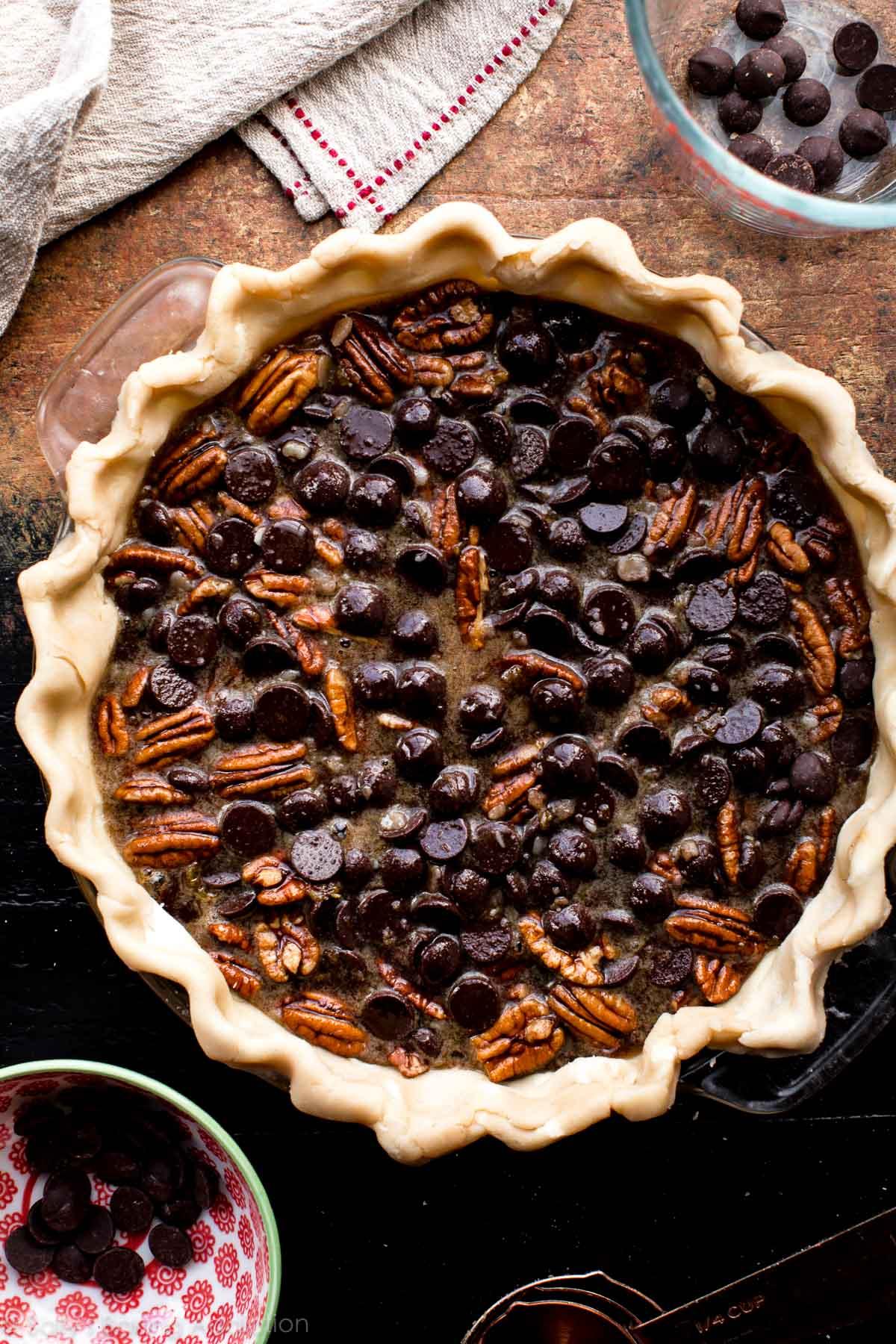 How to make dark chocolate pecan pie on sallysbakingaddiction.com