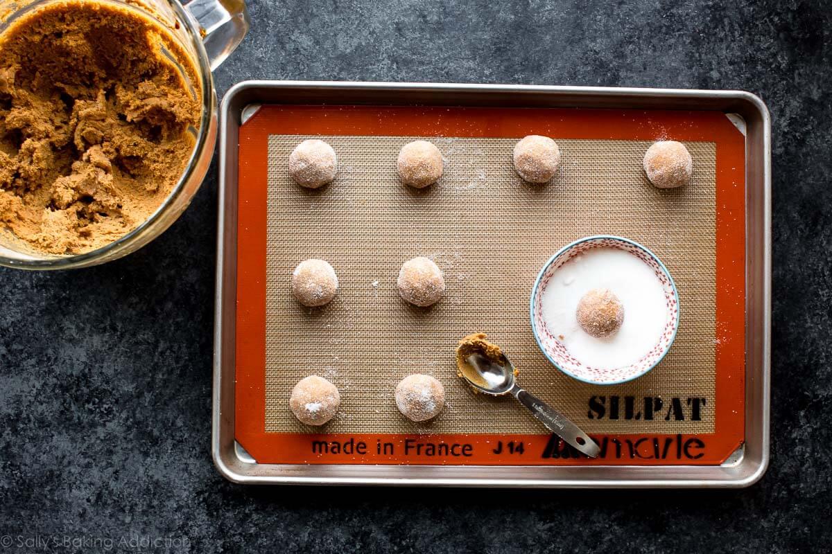 Soft molasses cookie dough on sallysbakingaddiction.com