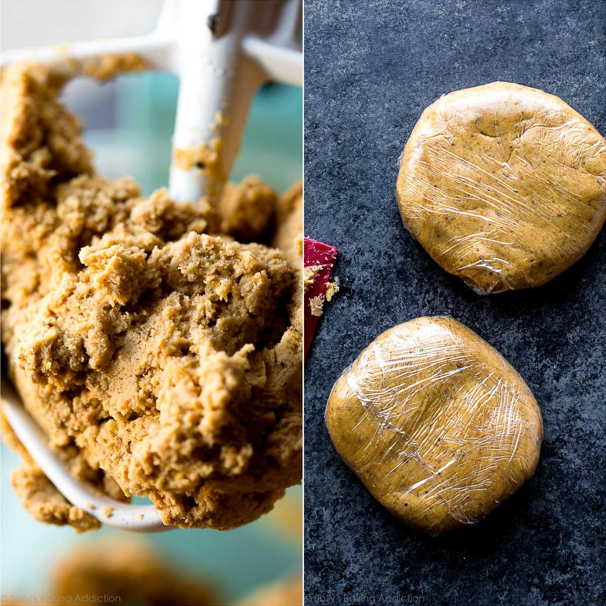 Cookie dough for linzer cookies on sallysbakingaddiction.com