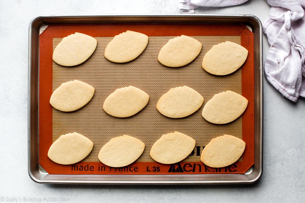 Football sugar cookies on sallysbakingaddiction.com