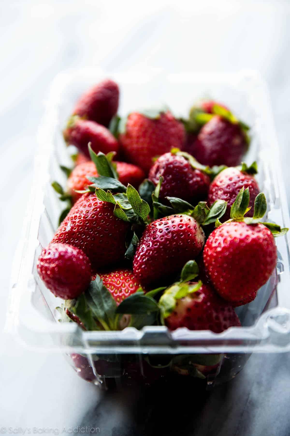 Fresh strawberries on sallysbakingaddiction.com