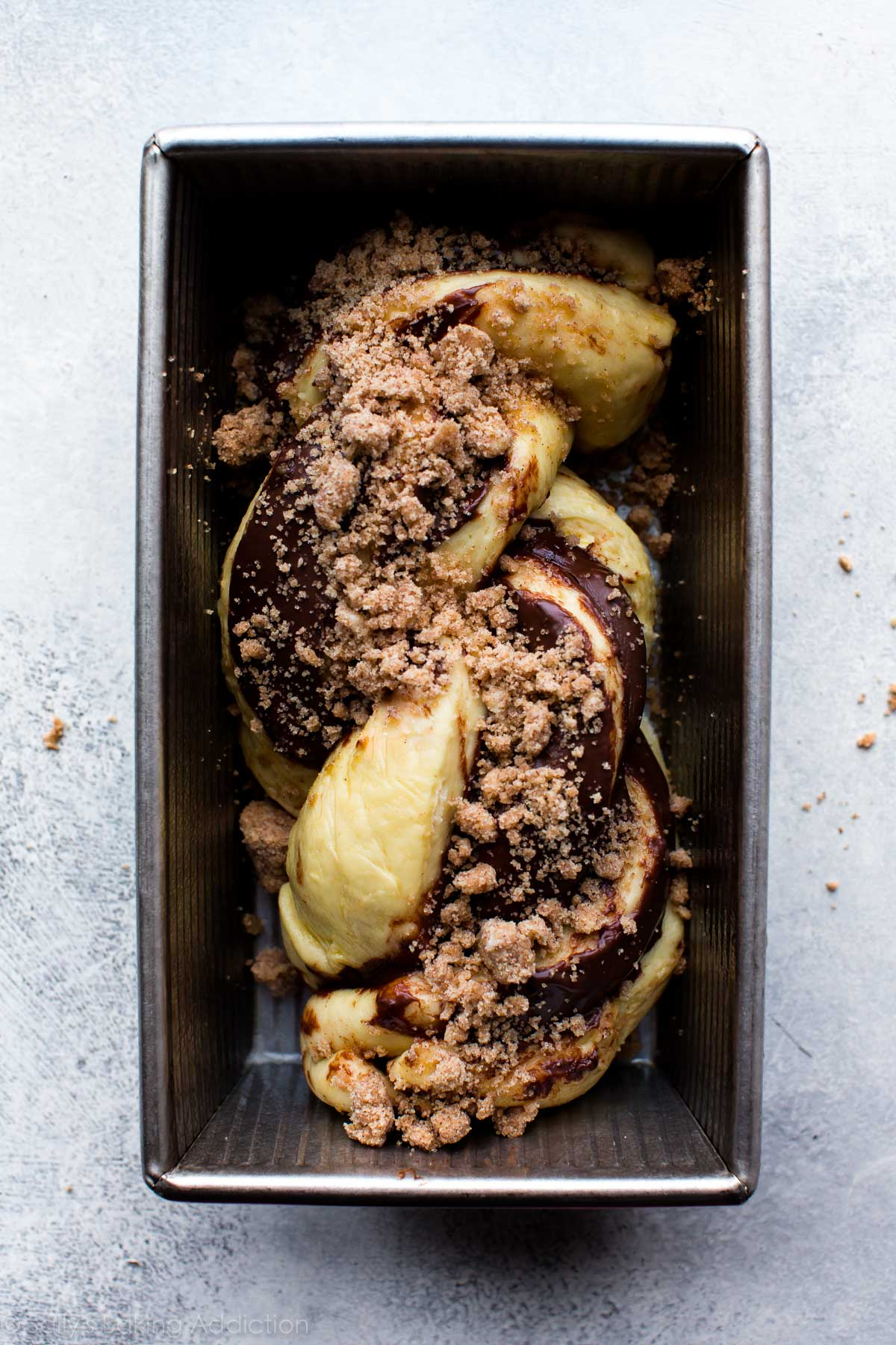 How to make Nutella babka on sallysbakingaddiction.com