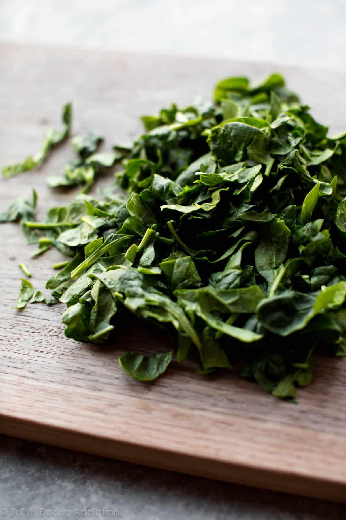 Spinach for minestrone soup on sallysbakingaddiction.com