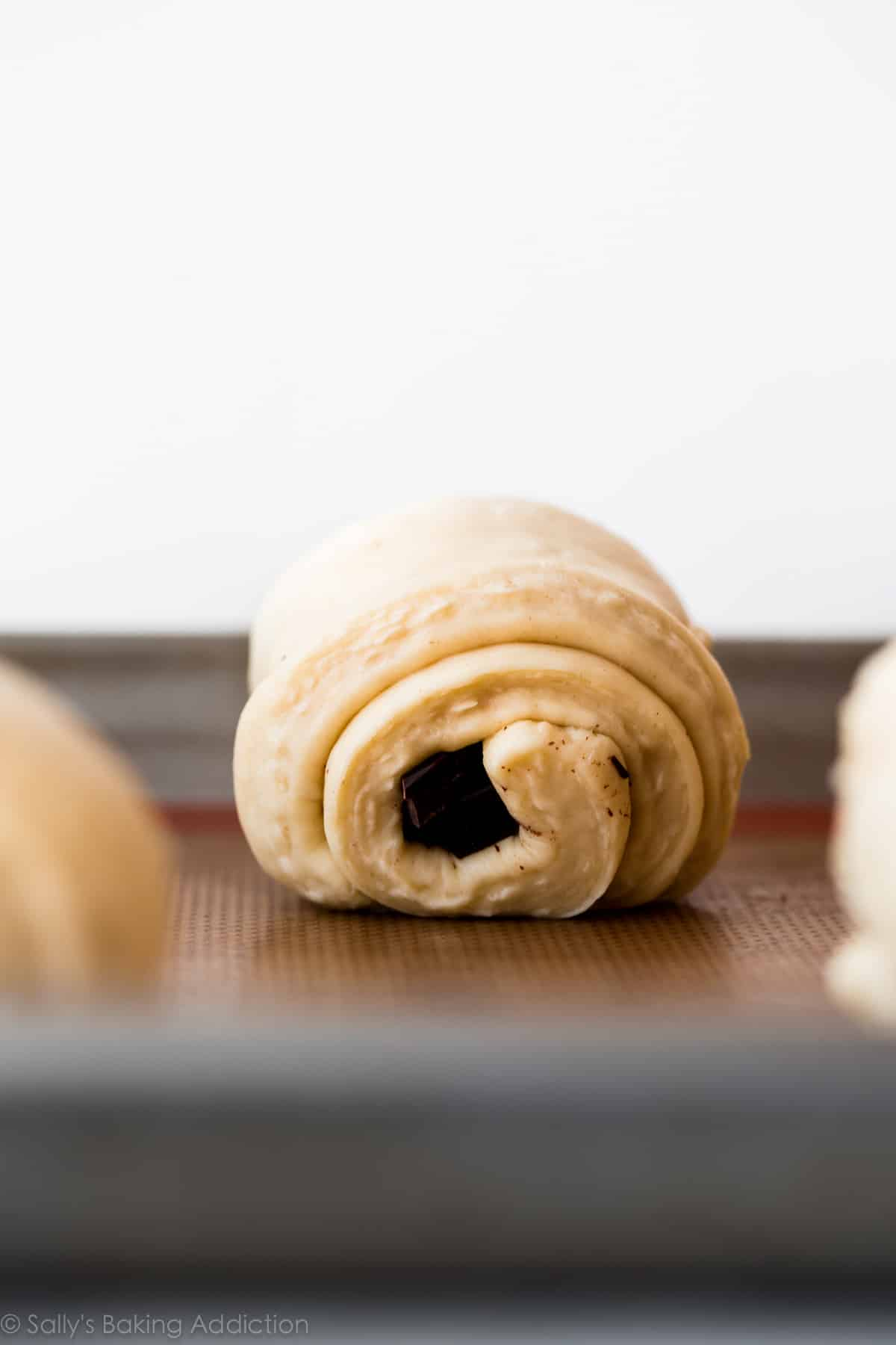 How to make chocolate croissants (Pain au Chocolat) on sallysbakingaddiction.com
