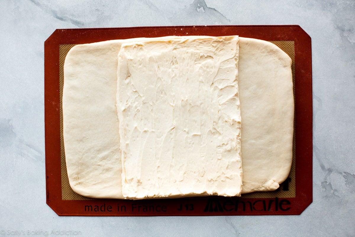 How to laminate dough for homemade croissants on sallysbakingaddiction.com