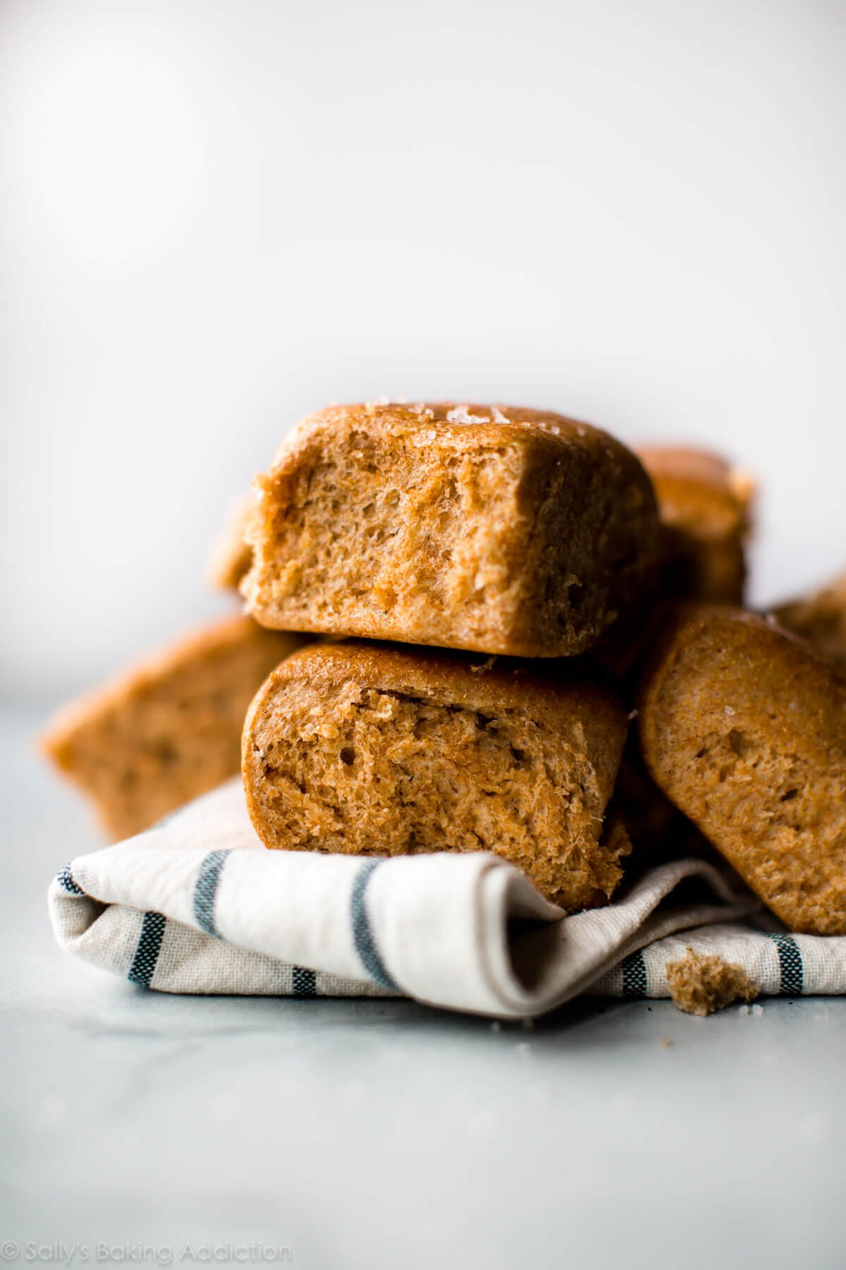 Soft, hearty, and sweet honey whole wheat dinner rolls! Recipe for homemade whole wheat rolls on sallysbakingaddiction.com