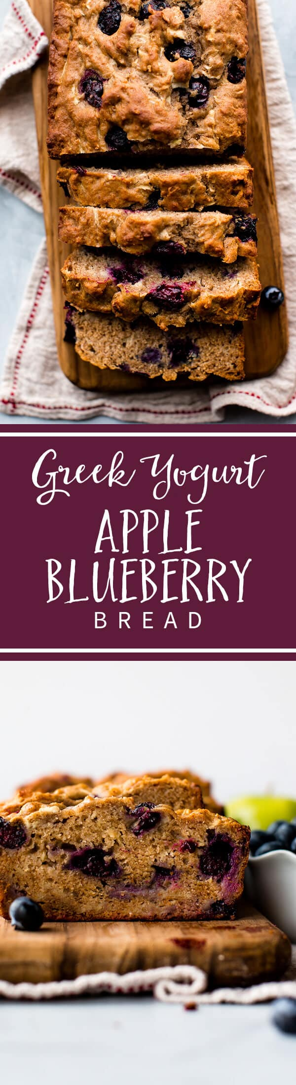 Hearty, healthy, and flavorful greek yogurt apple blueberry bread is delicious any time of day! Recipe on sallysbakingaddiction.com