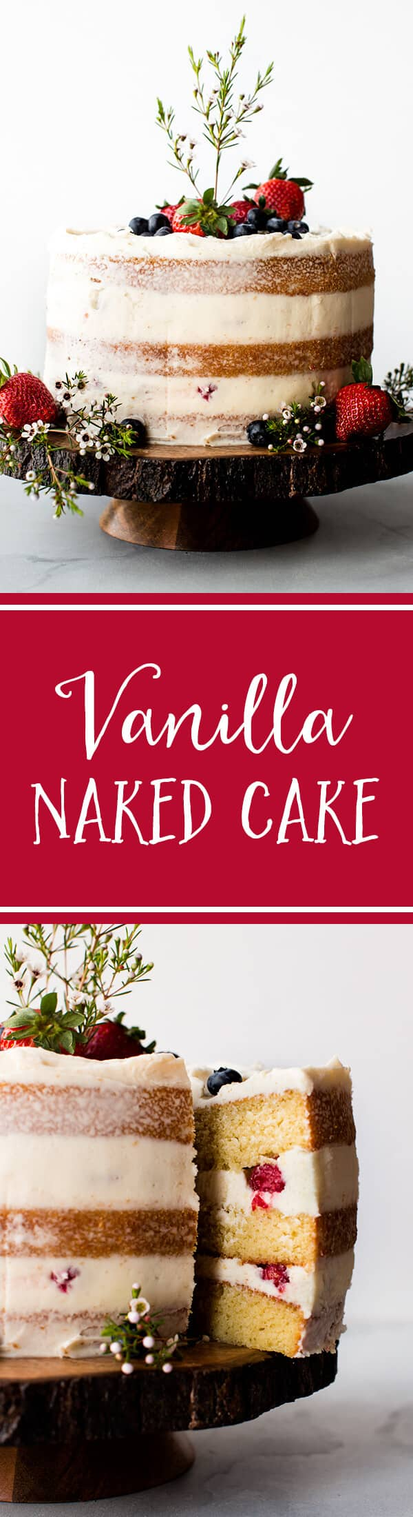 All the tips, tricks, tools, and recipe you need to create a beautiful and rustic vanilla naked cake! This homemade vanilla cake is perfect for showers and weddings. Recipe on sallysbakingaddiction.com