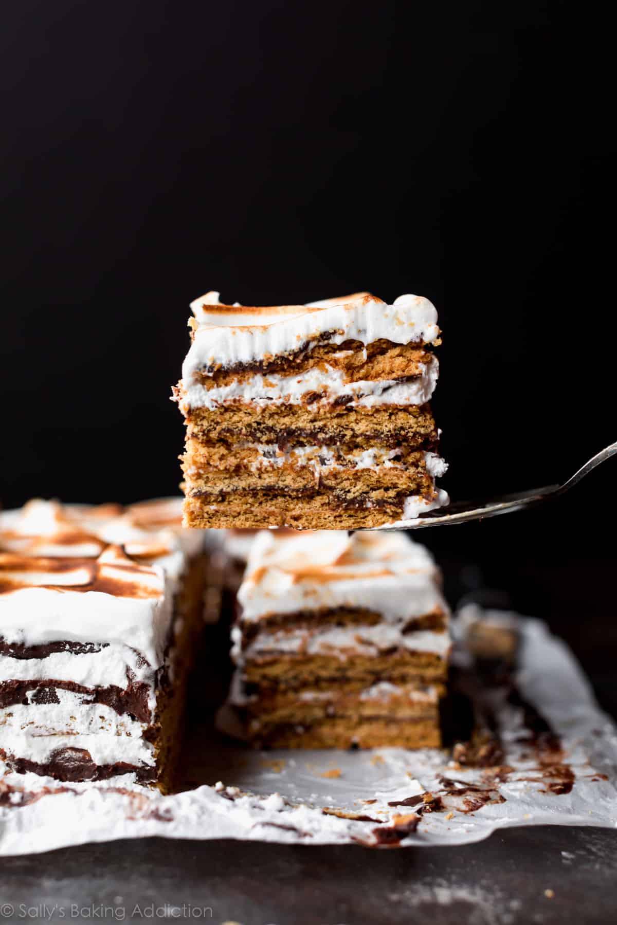 No-bake s'mores cake has 14 layers including graham cracker, chocolate ganache, and marshmallow meringue! Recipe on sallysbakingaddiction.com