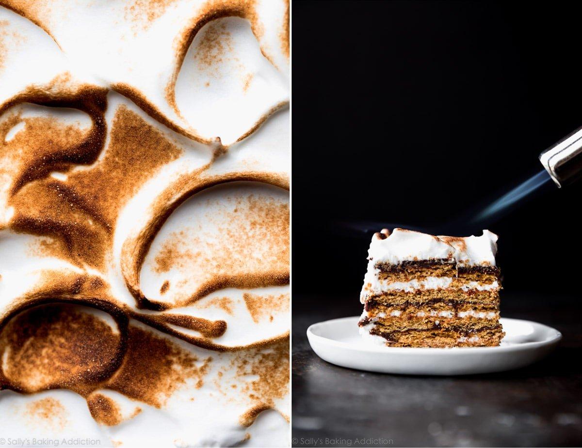 Toasted swiss meringue topping for smores cake on sallysbakingaddiction.com