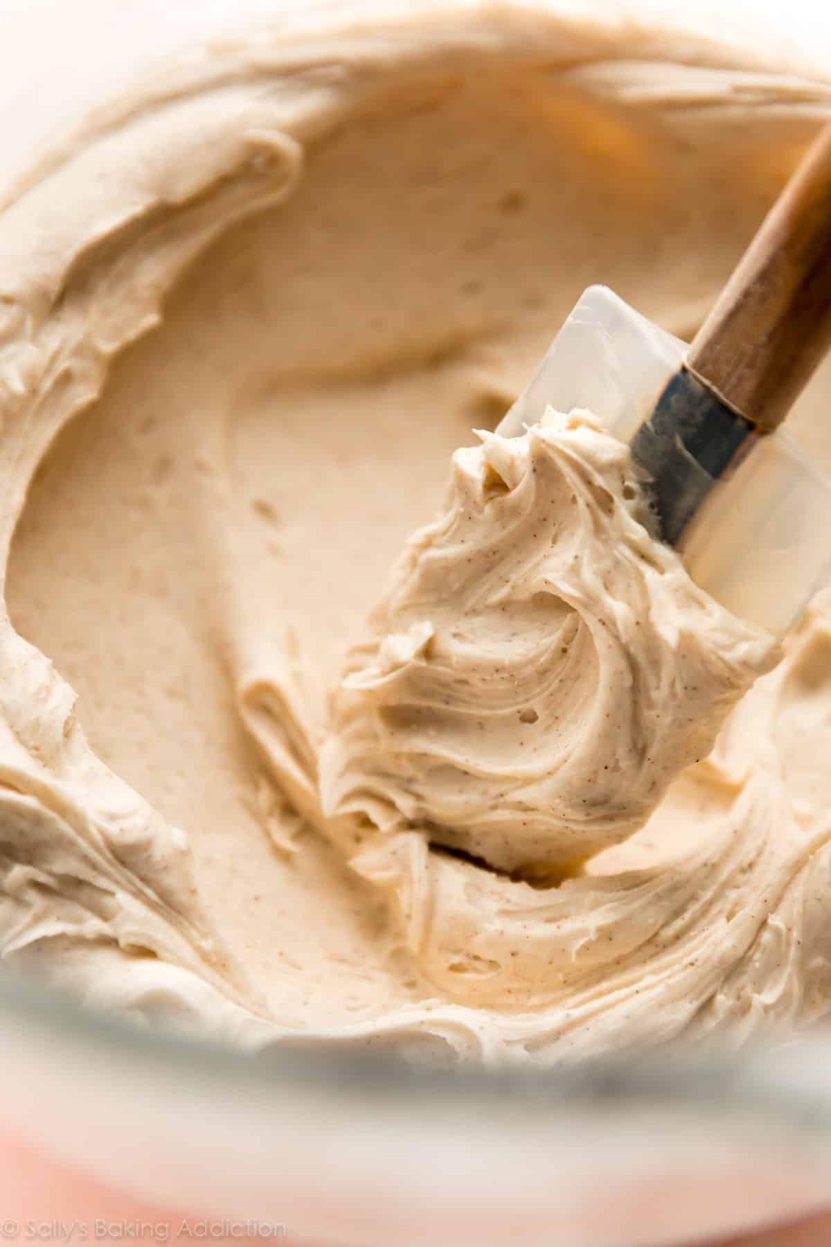 Deliciously creamy whipped chai buttercream! Recipe on sallysbakingaddiction.com