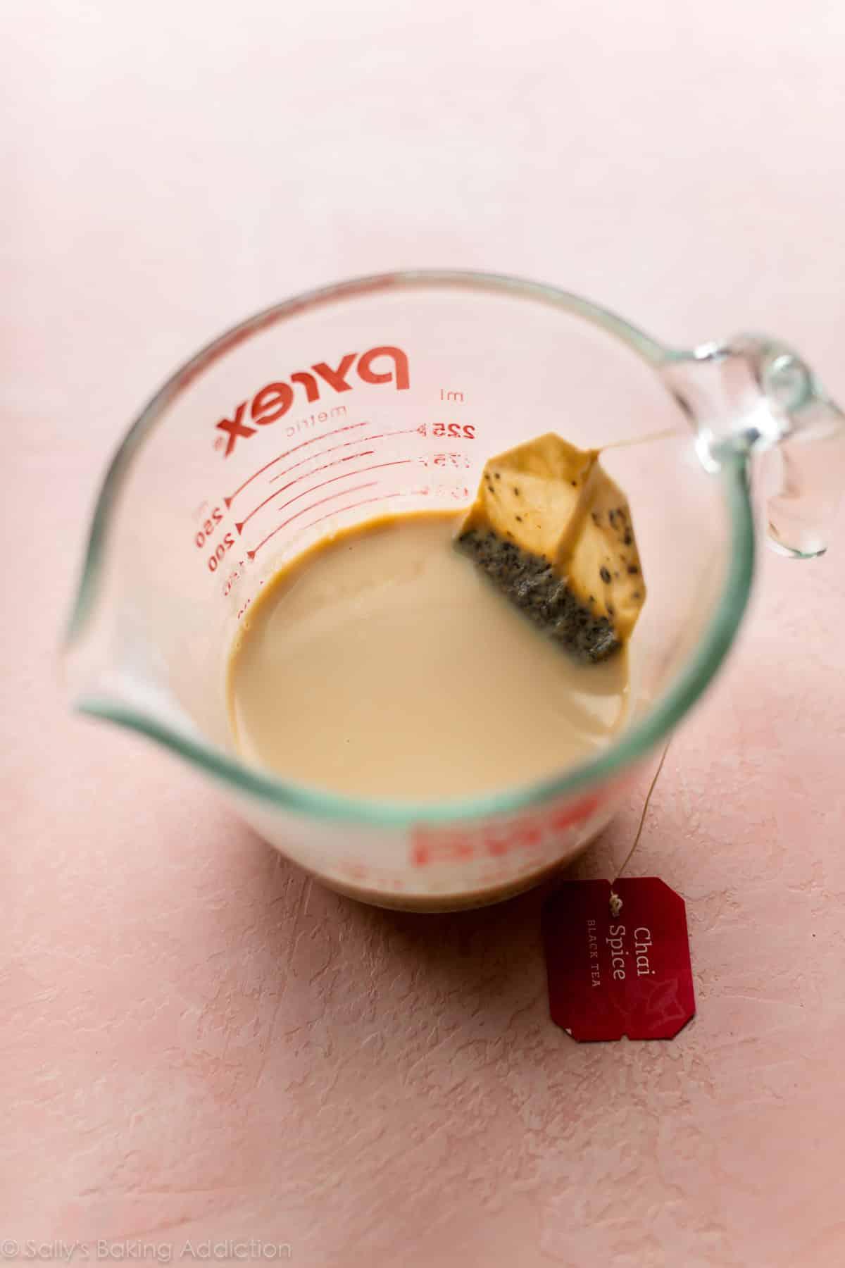 Chai tea milk for chai latte cupcakes on sallysbakingaddiction.com