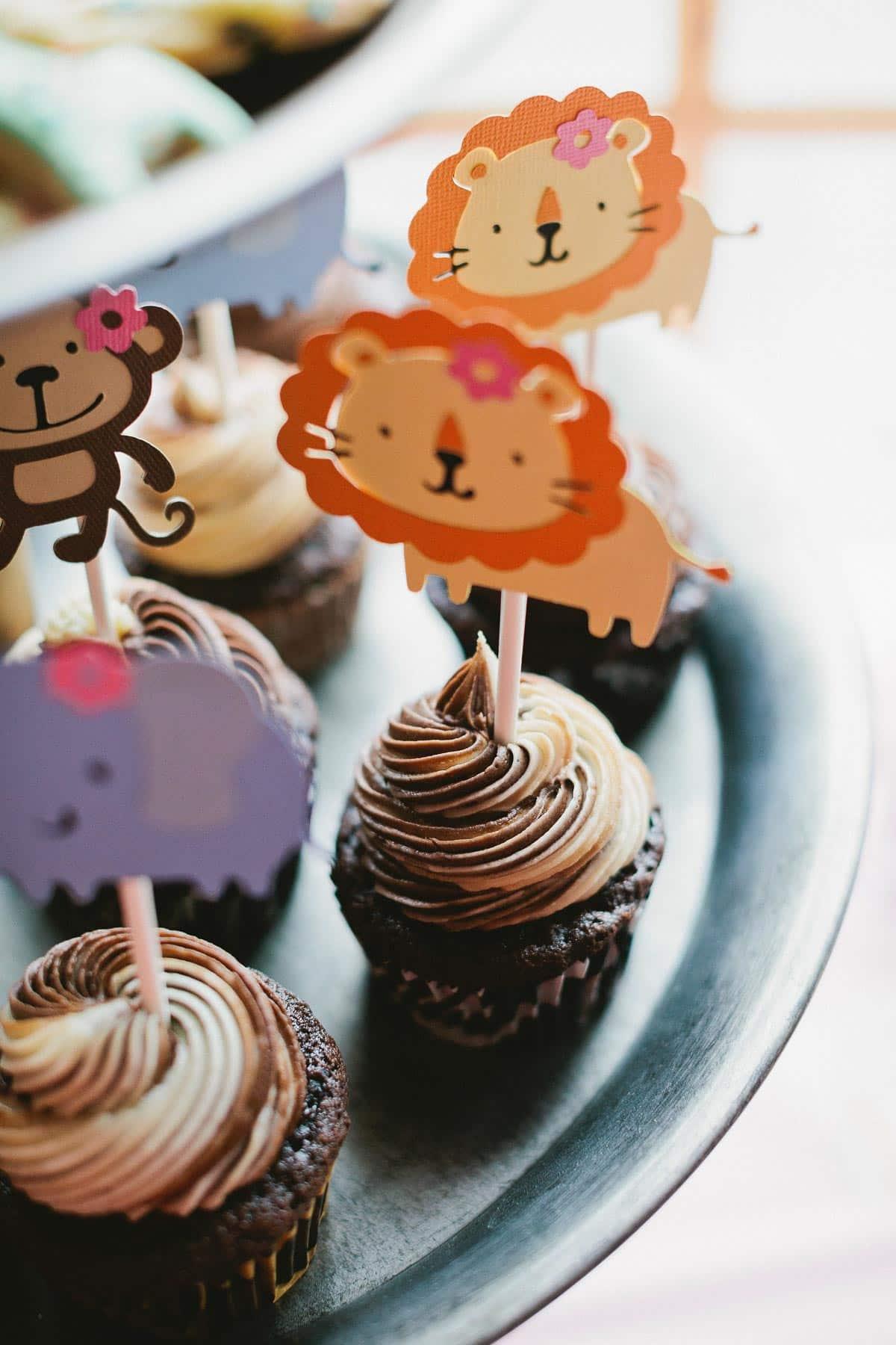 Chocolate and vanilla swirl cupcakes for 1st birthday party on sallysbakingaddiction.com