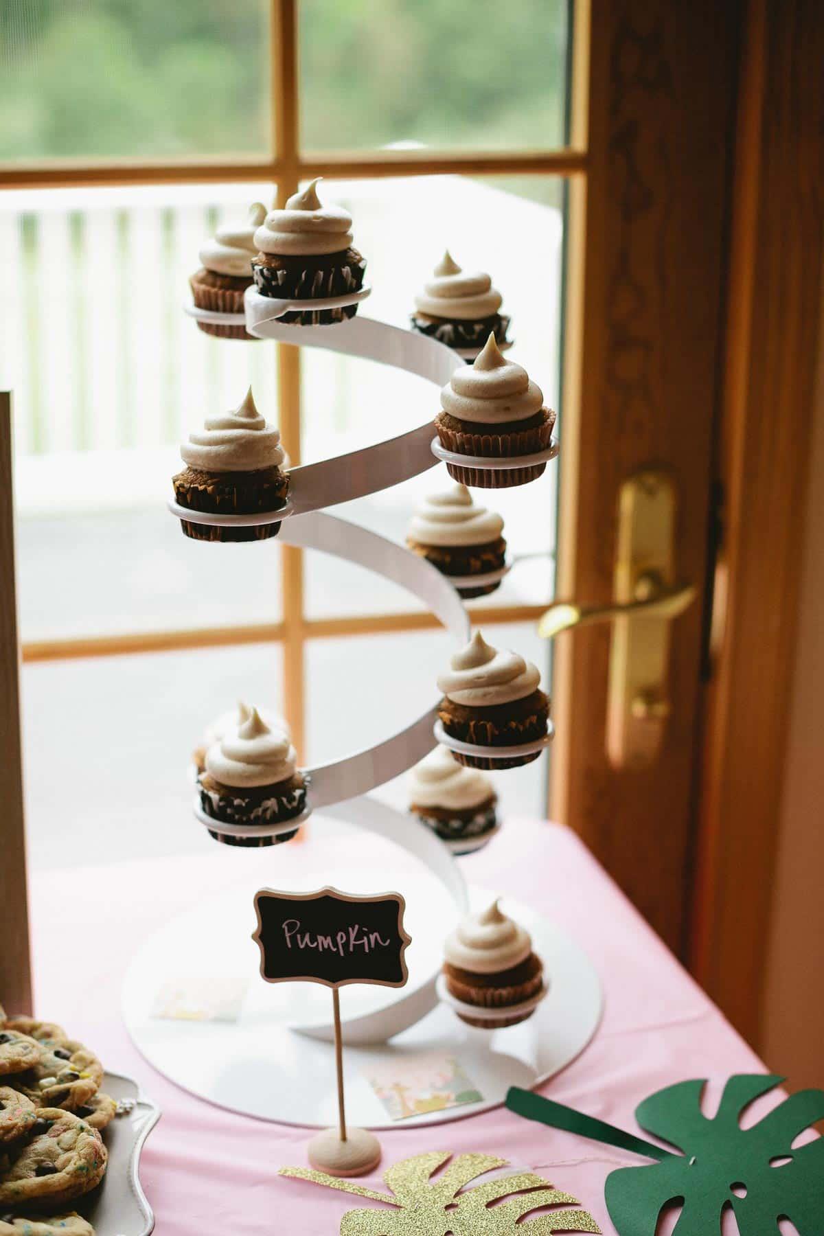 Pumpkin cupcakes for 1st birthday party on sallysbakingaddiction.com
