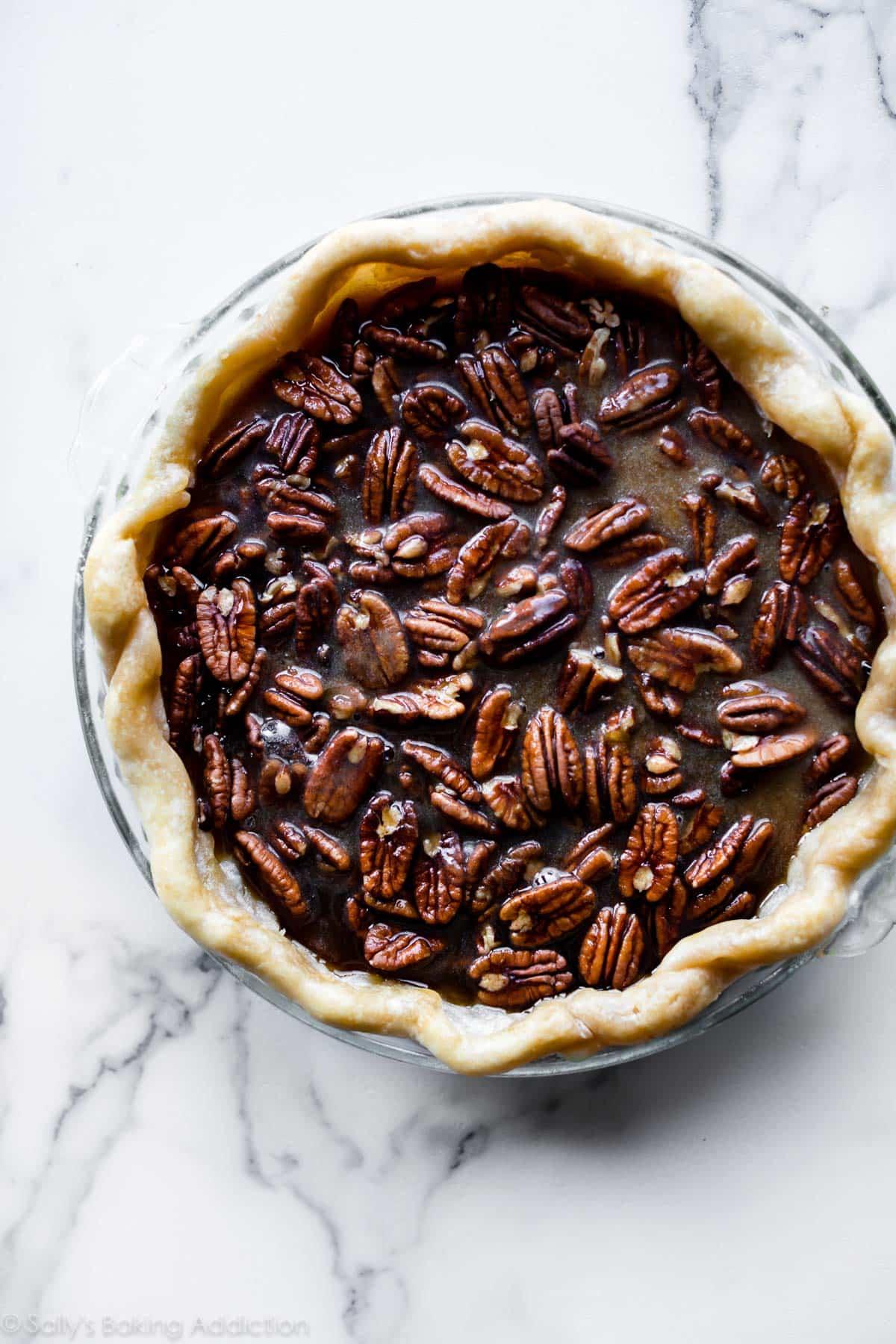 Uncooked maple pecan pie