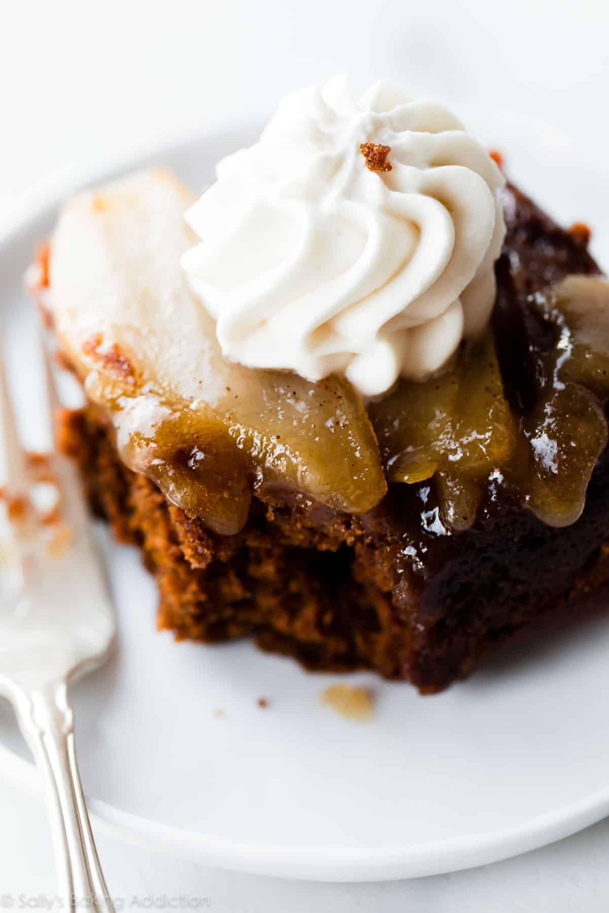 Upside down pear gingerbread recipe