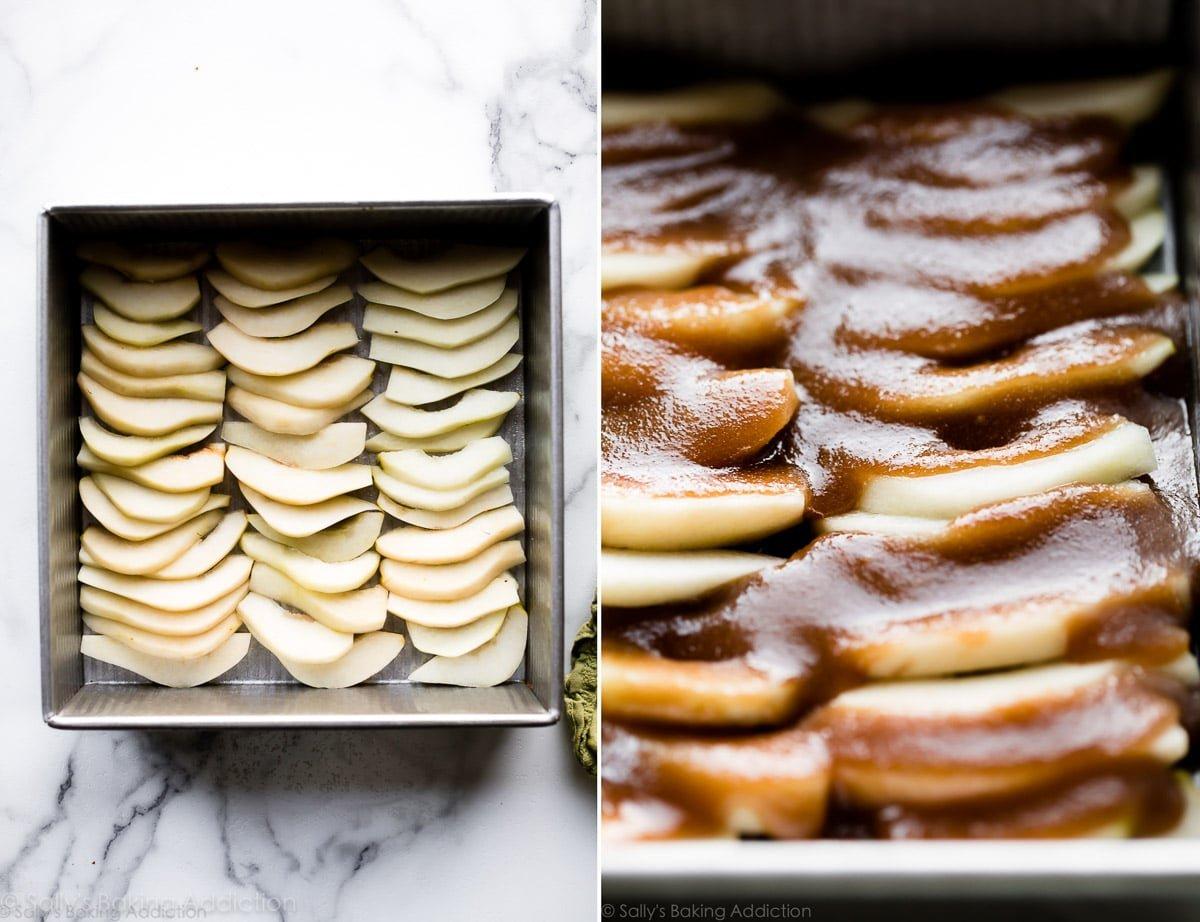 How to make upside-down pear gingerbread recipe on sallysbakingaddiction.com