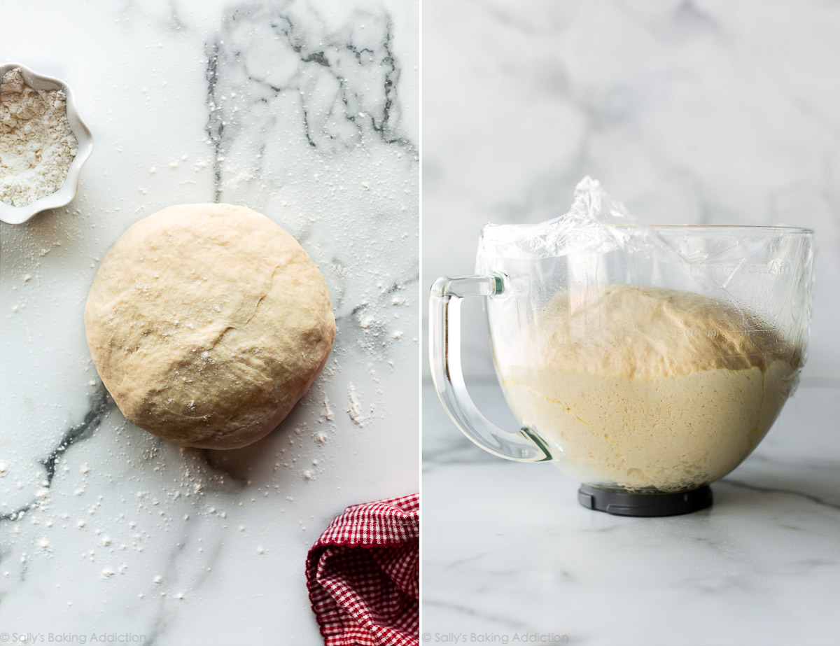Homemade pizza dough on counter