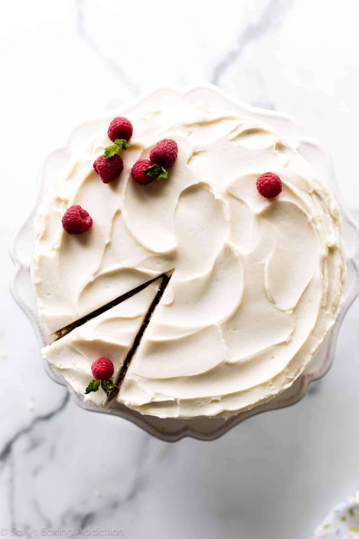 Top of a vanilla cake