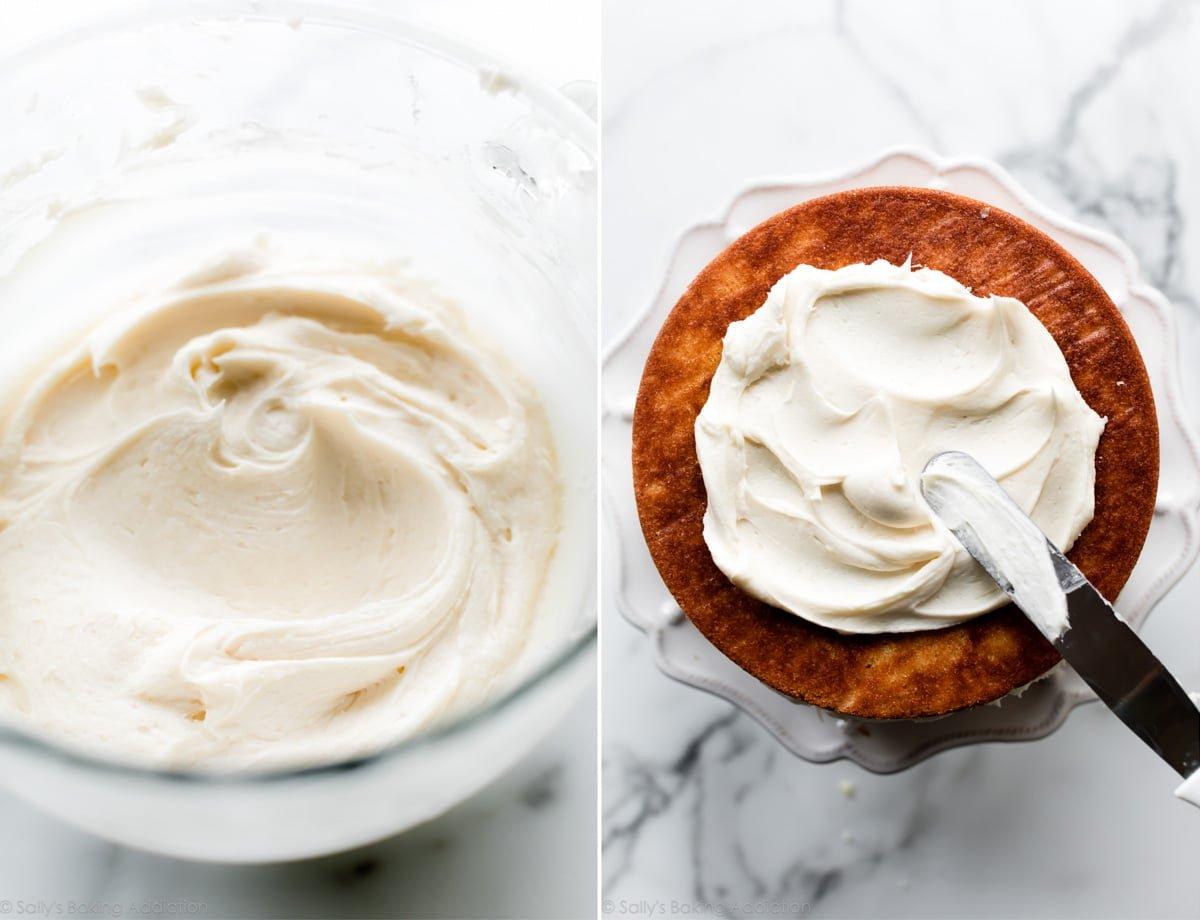 Vanilla frosting on vanilla cake